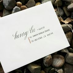 Fun, modern calligraphy wedding invitation envelope.