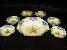 Vintage E Oh Hand Painted Gilded Nippon Serving Bowl 6 Dessert Berry Bowls   eBay