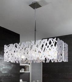 Modern Ceiling Lighting Fixture with White Gloss Frame   light fittings   home lighting shop