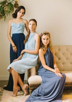 Mix it up with your ladies, beautiful looks in different styles makes for a breathtaking bridal party!