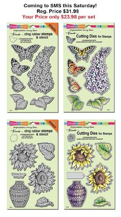 """*New Goodies* This Saturday, join us at 9am as we have the lovely Fran from Stampendous in our store doing ahhhhhhh-mazing demos all day! She is bringing with her some STUNNING NEW Die & Stamps Sets with her including these two beauties!!! These are some of the products that we will be using in our next """"Saturday with Stacey You Tube!"""" that you can watch at 9AM Sunny California time! Available In Store and Online scrapbookingmadesimple.com"""