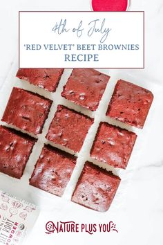Amazing red velvet beet root powder brownies. A healthy spin on a classic dessert, perfect for 4th of July! Follow the link for the recipe!
