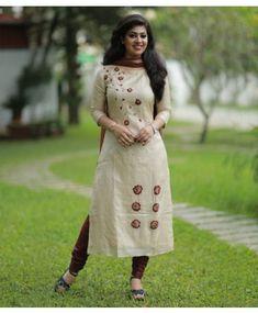 Ivory Tussar Suit with Embossed Floral work Silk Kurti Designs, Kurta Designs Women, Kurti Designs Party Wear, Salwar Designs, Designs For Dresses, Dress Neck Designs, Bridal Blouse Designs, Churidhar Designs, Salwar Dress