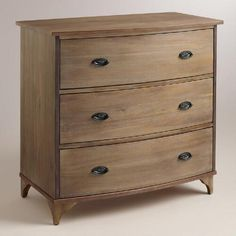 "One of my favorite discoveries at WorldMarket.com: Wood Jantar 3-Drawer Dresser  Overall: 36""W x 20""D x 36""H, 99 lbs. Floor to bottom of base: 4""H Drawers: 31""W x 16""D x 7""H each $480"