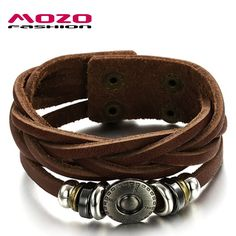 Mozzo Fashion - Brown Cow Leather Braided charm bracelet-RyTrend.com