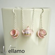 Sterling silver necklace, pendant and earrings: delicate sterling silver sugar pot pendant and teacup earrings, porcelain, pink on Etsy, $49.55 AUD