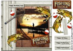 Male card Fishing by Marijke Kok Great male card for birthday fathersday retirement and other occasions.