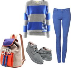 """""""Blue, Grey and a pinch on popping orange"""" by freddieromeo ❤ liked on Polyvore"""