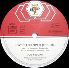 Joe Yellow- Lover To Lover (Vinyl,12'') 1983 Baby Records, Italo Disco, Music Radio, Archive, Lovers, Yellow