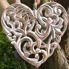 Large Carved Natural Wooden Heart