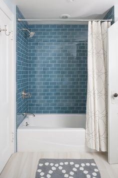 Gorgeous Small Bathroom Design with Pleasant Bathtub Shower Combo: inspiring small bathroom design with simple tub shower combo and blue subway tile. That beautiful blue tile. Traditional Bathroom, Bathroom Renos, Home, Tub Shower Combo Remodel, Bathroom Tub Shower Combo, Shower Room, Subway Tiles Bathroom, Bathroom Design, Blue Subway Tile