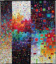 Dispersion Quilt by Carol Taylor - incredible quilt. Would make a beautiful abstract painting. Photo Arc En Ciel, Pintura Graffiti, Contemporary Quilts, Art Plastique, Fabric Art, Quilting Designs, Textile Art, Fiber Art, Quilt Patterns
