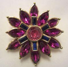 "Pretty Vintage 1-1/2"" Gold Tone Purple Blue Pink Rhinestone Flower Brooch A39"