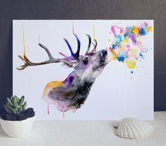 Hirsch Aquarell Giclée-Druck Aquarell Kunst von WatercolorMary