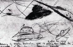 スティーヴン・ダービシャー(コニストン事件時,スティーヴン少年が撮影直前に目撃した円盤を自分でスケッチしたもの)UFO・空飛ぶ円盤・宇宙人遭遇傑作画集 | 日本のUFO遭遇事件