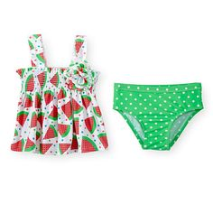 Koala Baby Girls 2 Piece Printed Smocked Tankini Top and Tutu Bottom Swimsuit Set