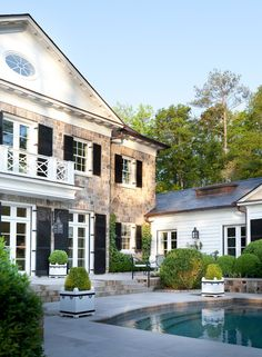'Fairfield residence, CT.' Pool terrace and garden by Howard Design Studio. House design by architect Norman Davenport Askins. Emily Jenkins Followill photo.
