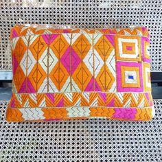 Vintage Phulkari Pillow from Michael Donaldson Antiques (via Colorful Homes) #pillow #phulkari #india #orange #pink