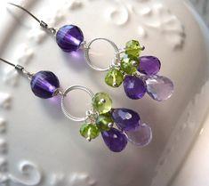 Purple Amethyst and Apple Green Peridot Cluster Earrings. Fashion Chandelier Earrings. Dangle Drop Earrings. February Birthstone Earrings., $46.00