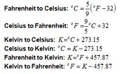 Celsius Farenheit Kelvin Conversion Equations. Basically 0°C=32°F=273.15°K and each 9°F=5°C
