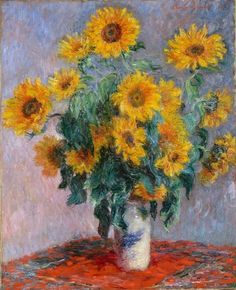 off Hand made oil painting reproduction of Bouquet Of Sunflowers, one of the most famous paintings by Claude Oscar Monet. Reminiscent of Van Gogh's iconic series, Monet's Bouquet Of Sunflowers was painted seven years previously in 1881 - . Claude Monet, Sunflower Vase, Monet Paintings, Landscape Paintings, Abstract Paintings, Painting Art, Texture Painting, Famous Artwork, Oil Painting Reproductions