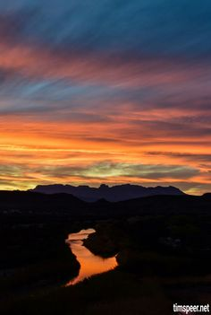 Sunset looking along the Rio Grande River towards the Chisos Mountains. Big Bend National Park, Texas