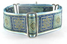 Bevan Square Blue, a martingale or snap-buckle release dog collar composed of a Renaissance Square design in Blue and Turquoise tones.: The Regal Hound - Unique fashionable designer martingale and buckle dog collars, from cute to fancy, humane and soft choke for all canine breeds
