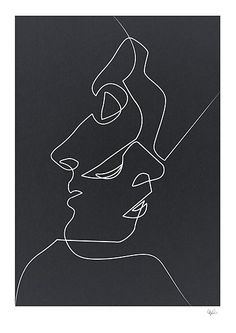 Close Noir Art Print by quibe Available for purchase Close Noir Black and White Minimalist Abstract Art Painting Face People Relationships Love Art Blanc, Pics Art, Painting & Drawing, Painting Canvas, Wall Drawing, Drawing Faces, Face Line Drawing, House Painting, Modern Art
