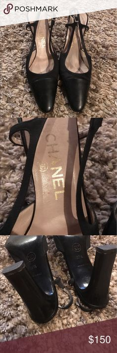 Chanel heels Chanel slingback heels 100% authentic heels in good condition these have small line in front on fabric shown in pic not sure what it is not to noticeable when wearing only on one shoe. CHANEL Shoes Heels