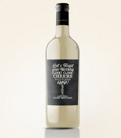 Chalkboard Birthday Wine Label