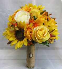 Silk Bridal Wedding Bouquet with Sunflowers