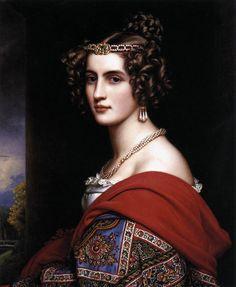 Amalie von Schintling peinte par Joseph Karl Stieler.  Galerie des beautés au château de Nymphenburg (Munich).