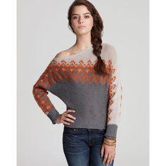 Free People Sweater - Asymmetrical Fairisle ($65) ❤ liked on Polyvore