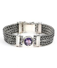 Purple Abalone & Sterling Silver Station Bracelet by Samuel B.