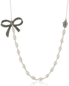 """Sterling Silver Oxidized Marcasite and Pearl Bow and Flower Necklace, 18"""" + 2"""" Extender - Fashion Jewelry"""