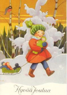 Vintage Christmas/Winter Art by Rudolf Koivu ~ Orange Skyline Childrens Christmas, Christmas Love, Christmas Pictures, Christmas 2019, Xmas, Vintage Greeting Cards, Vintage Christmas Cards, Vintage Postcards, Vintage Images