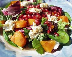 """Pomegranate Persimmon Salad with Warm Goat Cheese: """"I made this for Thanksgiving last year. It was so good and was easily my best holiday salad ever."""" -Ameliahead #UltimateThanksgiving"""