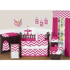 The chevron baby bedding set by Sweet Jojo Designs will create instant zest for your nursery. This trendy designer crib bedding set boasts a large hot pink and white chevron print in brushed microfiber to set your nursery up in high style.