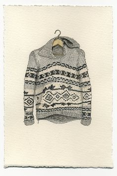 Rather interesting series of watercolor paintings of clothing on hangers - shirts, jackets, sweaters, tees...by Mark Hall-Patch