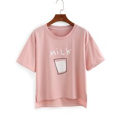 Milk Print High-Low T-shirt (€6,74) ❤ liked on Polyvore featuring tops, t-shirts, shirts, pink, pink shirt, pink t shirt, stretchy t shirts, short sleeve cotton shirts and t shirts