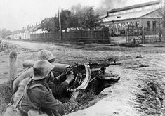 Two Romanian soldiers manning a heavy machine gun at Nalchik, Russia, 1942 Heavy Machine Gun, World War Ii, Ww2, German, Guns, Army, Soldiers, Russia, Painting