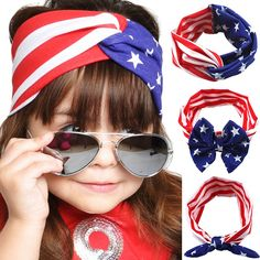 Retail 1pcs Headband Stylish American Flag Pattern Bowknot Elastic Cloth Cute Hairband Accessories Para Cabelo Menina