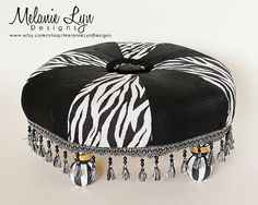 Items similar to Black and Ivory Tuffet   w/free shipping! on Etsy