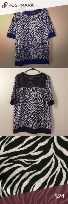 💋Hot Zebra Print Top With Back Pattern Cute top :) looks good with a belt and leggings. Made in Lesotho   100% polyester Light fabric Bobbie Brooks Tops Blouses