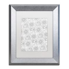 "Trademark Art 'Big Beautiful Blossoms XXXII' by Hello Angel Framed Graphic Art Matte Color: White, Size: 14"" H x 11"" W x 0.5"" D"