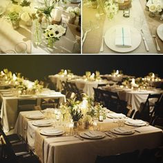 love the seating arrangements and flowers - long tables, square tables.  white and greens