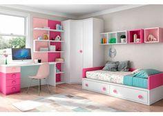 Habitación juvenil blanco , fucsia y rosa con tirador botón Room Design Bedroom, Girl Bedroom Designs, Home Room Design, Kids Room Design, Small Room Bedroom, Bedroom Decor, Kids Bedroom, Little Girl Rooms, Baby Room Decor