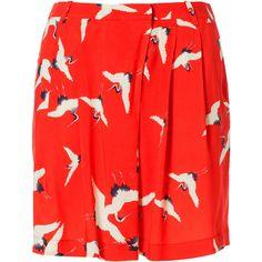 Zara Bird Printed Shorts (1.185 RUB) ❤ liked on Polyvore featuring shorts, skirts, bottoms, red, zara, red shorts and zara shorts