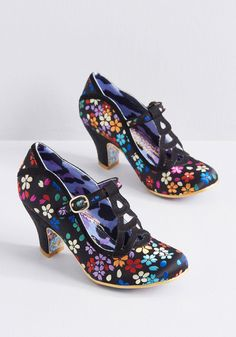 Irregular Choice Pleasing Panache T-Strap Heel Black | Pretty Shoes, Beautiful Shoes, Cute Shoes, Me Too Shoes, Crazy Shoes, Kitsch, New Balance, Shoes 2018, Black Strap Heels