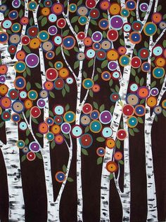 Birches Blooms - Original Acrylic Folk Art Abstract Modern Painting by Karia Gerard - would make a great penny rug or hooked rug Karla Gerard, Arte Popular, Button Art, Naive Art, Whimsical Art, Printable Coloring Pages, Tree Art, Painting Inspiration, Painting & Drawing
